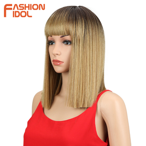 Image 4 - FASHION IDOL Short Bob Wigs For Black Women 14 inch Ombre 613 Blonde Linen Color Neat Fringe Straight Hair Synthetic Wig Cosplay