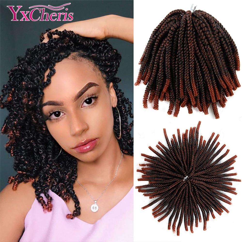 YxCheris 60 Strands Spring Twist Hair Extensions Black 613 Ombre Crochet Braids Synthetic Braiding Hair Nubian Twist Bounce Curl