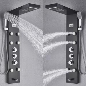 Image 5 - Black Bath Shower Thermostatic Mixer Shower Panel Rainfall Waterfall Massage Jets Shower Column  Shower Faucet Tower Shower Set