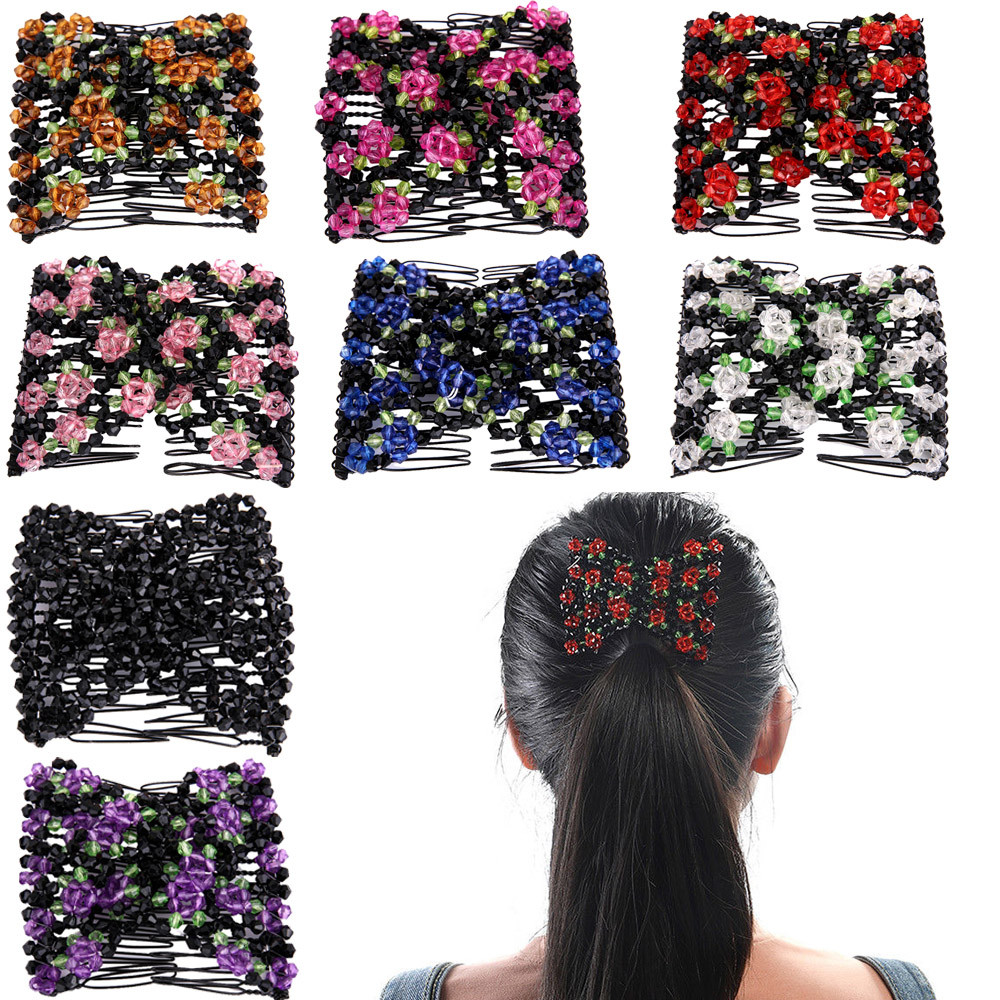 Double Beaded Hair Magic Comb Clip Beads Elasticity Hairpin Ladies Beads Elasticity Double Hair Comb Clamp Stretchy Accessory