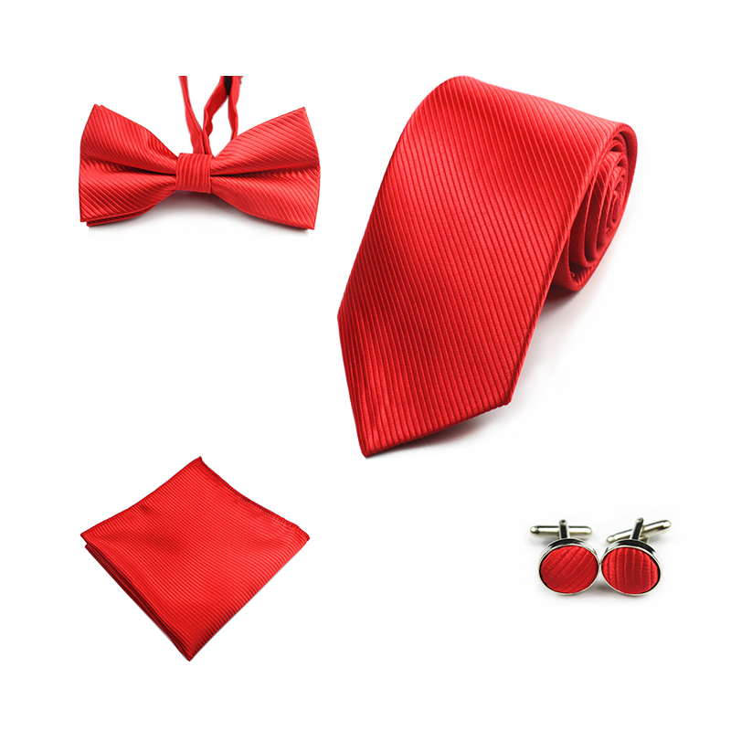 Ricnais New 8cm Männer Krawatte Set Taschentuch Fliege Manschettenknöpfe Krawatte Rot Blau Fliege Seidenkrawatten Für Hochzeit Business Party Geschenk