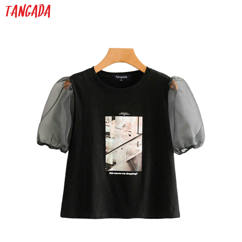 Tangada Female Vintage Print Cotton T Shirt Summer Mesh Short Sleeve O Neck Tees Ladies Casual Tee Shirt Top 2L11