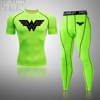 Wonder Woman Men's full Suit Compression Sport Suit Gym joggers Running Short sleeve Shirts leggings Basketball sportwear 21