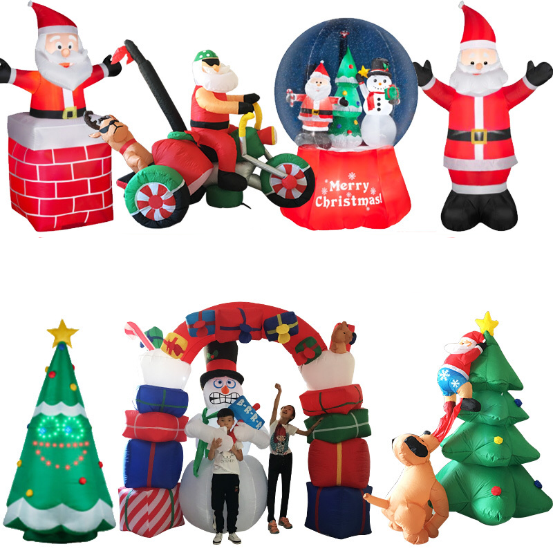 LED Air Inflatable Santa Claus Snowman Elk Outdoor Garden Airblown New Year Christmas Decoration Gift For Kids Children Toys