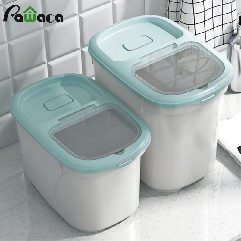 Rice Container Dispenser Measuring Cup Food Storage Box Bins Airtight Flour Grain Cereal Container Dust-Proof Kitchen Organizer