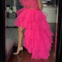 Hi low Tutu Skirt Custom Made Party Adult Skirt Layered jupe femme Hot Pink Maxi Women Skirts Tulle Elastic Band Floor Length