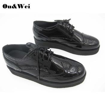 Oxford buty buty szkolne damskie płaskie buty damskie buty wygodne buty dla kobiet espadryle damskie buty płaskie buty tanie i dobre opinie OU WEI Oksfordzie CN (pochodzenie) Lace-up Pasuje prawda na wymiar weź swój normalny rozmiar Na co dzień Wiosna jesień