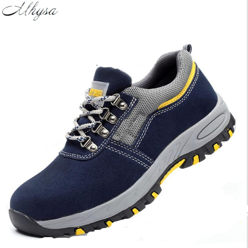 Mhysa 2019 Steel Toe Safety Work Shoes Men Fashion Breathable Slip Casual Boots Mens Labor Insurance Puncture Men Safety Shoes