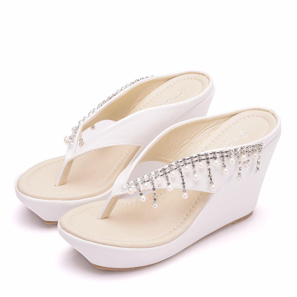 Crystal Queen Women Slippers Summer White Color Style Beaches Flip Flops Platform Sandals Open-toed Casual Shoes Big Size 34-43 5