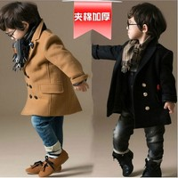 Fall Winter New Baby Boys Cotton Padded Woolen Jacket British Style Kids Casual Trench Coat Overcoat Children's Outerwear B319