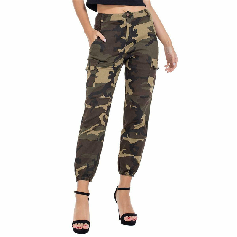 Fashion Women's Camo Cargo Trousers Pants Military Army Combat Camouflage Sports Long Pants Harem Trouser Women Streetwear S-3XL