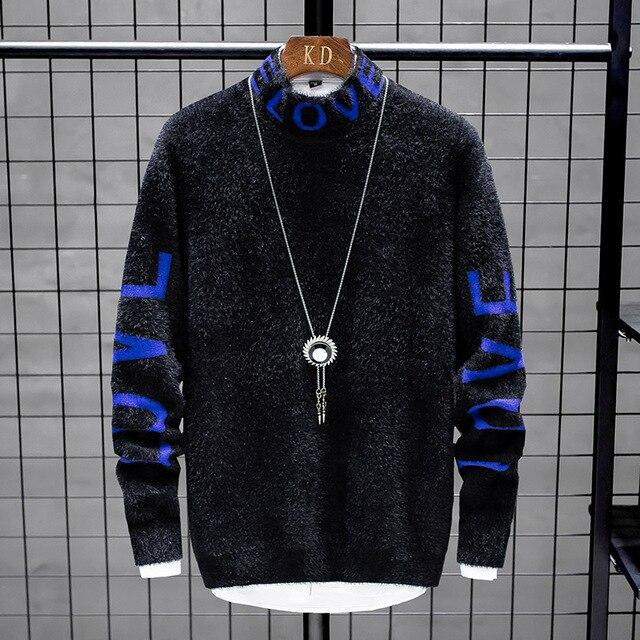Suéter de cachemir para hombre, suéteres gruesos y cálidos de Navidad, jersey de cuello alto, moda de punto, novedad de invierno de 2020 2