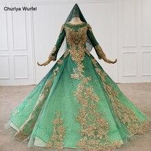 HTL1263 мусульманских свадебное платье зашнуровать золото блесток аппликации длинные рукава невесты o-образным вырезом зеленый с хиджаб платья Vestidos Новия