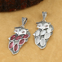 купить 925 Sterling Silver Jewelry Retro Thai Silver Women Models Marcasite Inlaid Opal Red Corundum Fox Pendant дешево
