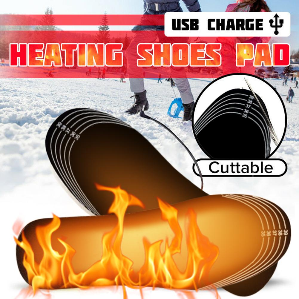 1 Pair Winter Warming Electric Heated Insoles Foot Shoes Warmer USB Heating Pad