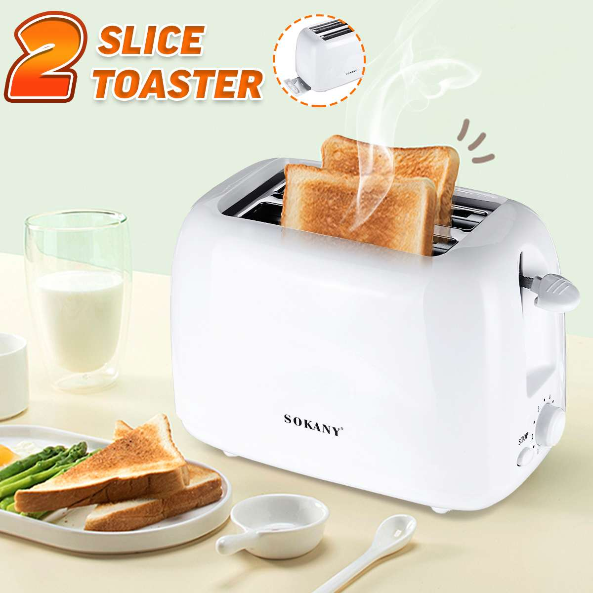 700W Toaster Automatic 2 Slice Breakfast Sandwich Maker Machine 220-240V Home Office Toasters 6-speed Baking Cooking Appliances