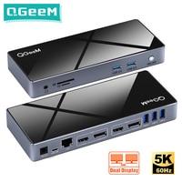 QGeeM Docking Station 15-IN-1 USB Hub 3.0 for Macbook Pro Xiaomi Laptops One 5K/ Dual 4K@60Hz Video Display USB Type C Hub HDMI
