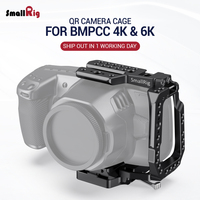 SmallRig BMPCC 4K Quick Release Camera Cage Half Cage for Blackmagic Design Pocket Cinema Camera 4K/6K W/ Manfrotto 501PL plate