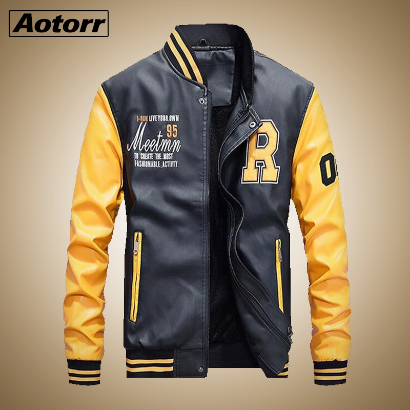 Casual Baseball Jacket Men Fashion Hoodies Pu Leather Motorcycle Stand Winter Male Jacket Fleece Warm Comfort Bomber Out Coat