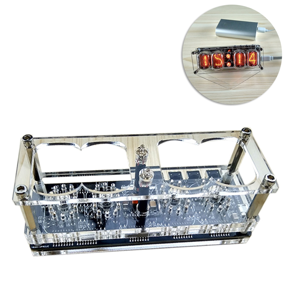 DIY Glow Tube Clock Base Four Digital Glow Tube Clock For Glow Tube (No Glow Tube ) -Basic /Advanced Version