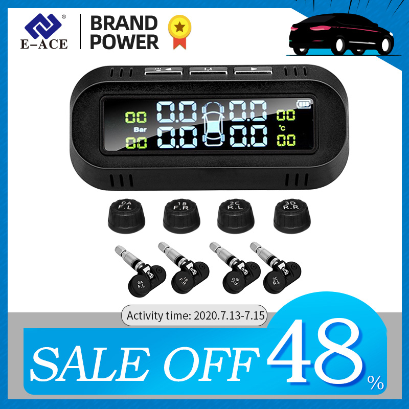 E-ACE Solar Smart TPMS Car Tire Pressure Alarm Monitor System 4 sensors Display Intelligent Tyre Pressure Temperature Warning