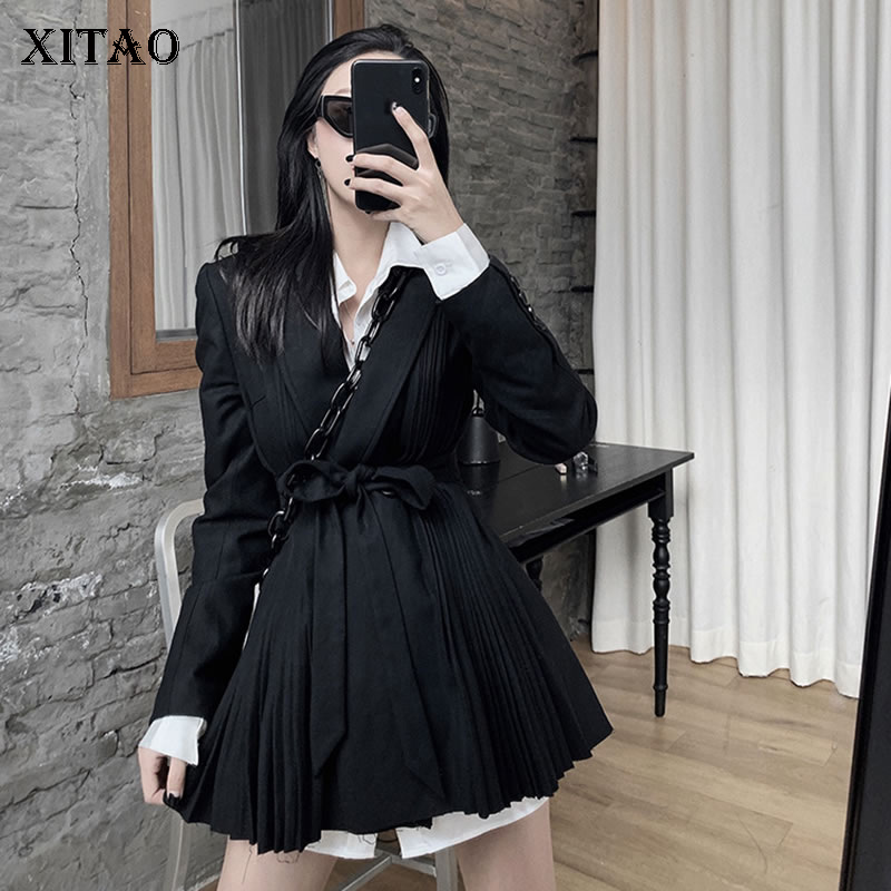 XITAO British Style Pleated Wool Winter Clothes Women Leisure Personality Blazer Black Suit Autumn Winter Women Clothes GCC2983