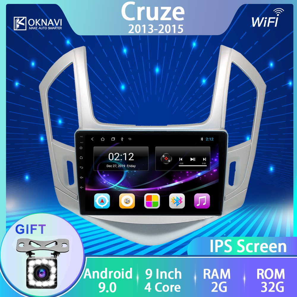 OKNAVI Sliver Frame Car Radio Multimedia Video Player Android 9.0 Auto Stereo GPS MAP Canbus for Chevrolet Cruze <font><b>2013</b></font> 2014 2015 image