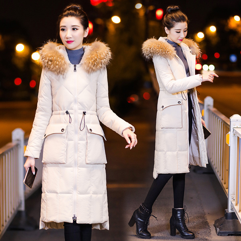 Winter Women Outerwear 2019 New Mid-Long Slim Female Down Cotton Jacket Over Knee Large Size Hooded Fur Collar Lady Coat   Parka
