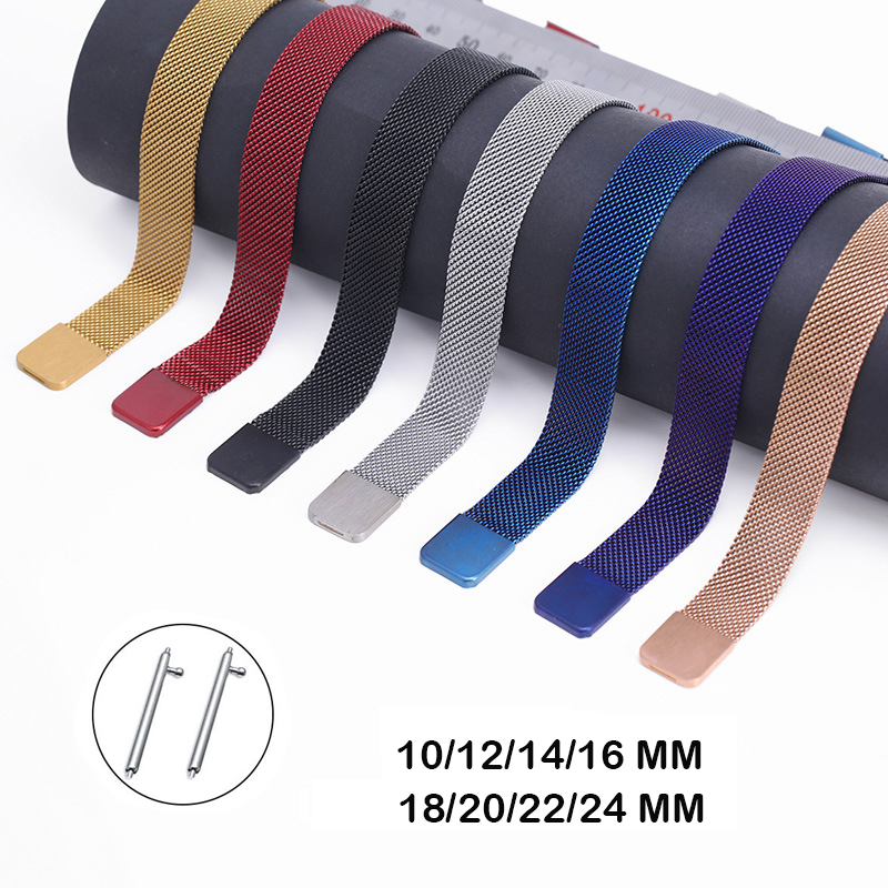 Quick Release Milanese Magnetic Steel Watch Mesh Band For Samsung Galaxy Huawei Strap 10mm 12mm 14mm 16mm 18mm 20mm 22mm 24mm