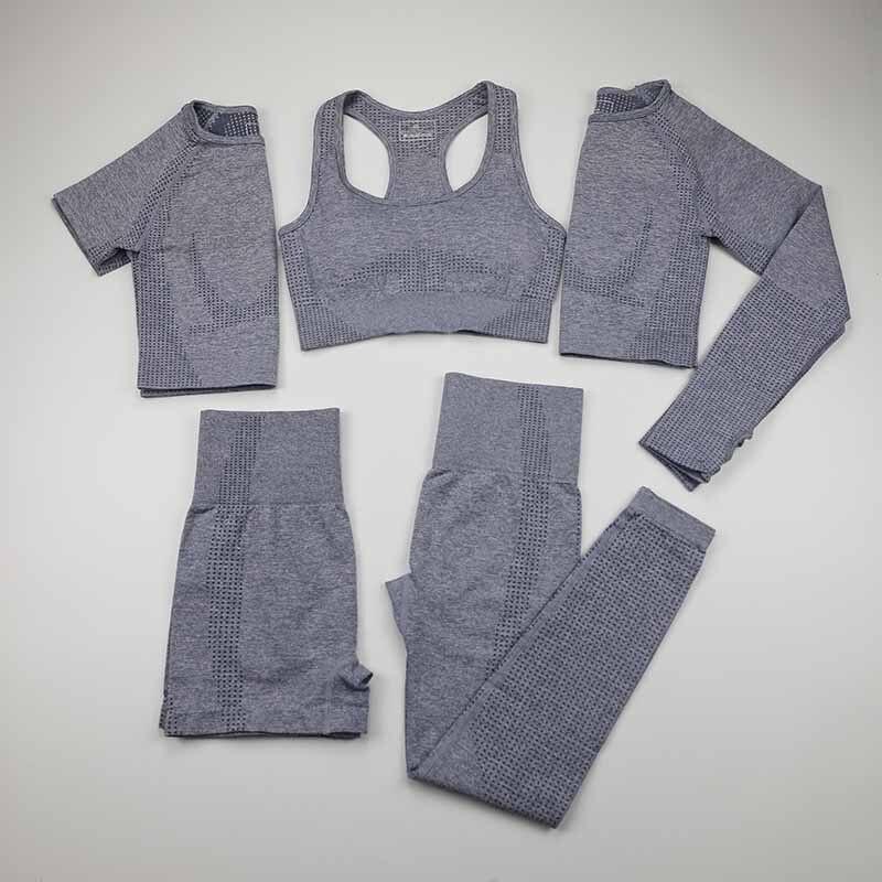 Women Vital Seamless Yoga Set Workout Sport Wear Gym Clothing Short/Long Sleeve Crop Top High Waist Running Leggings Sports Set