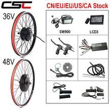 Kit de Conversion de vélo électrique 36V 250W 350W 500W 48V 1000W 1500W 20-29 pouces 700C EBike Brushless Hub moto roue arrière