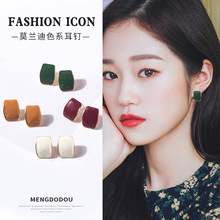 Statement Earrings Geometric Square Acrylic Stud Women Fashion JewelryFrench Vintage Mixed Batch Girl