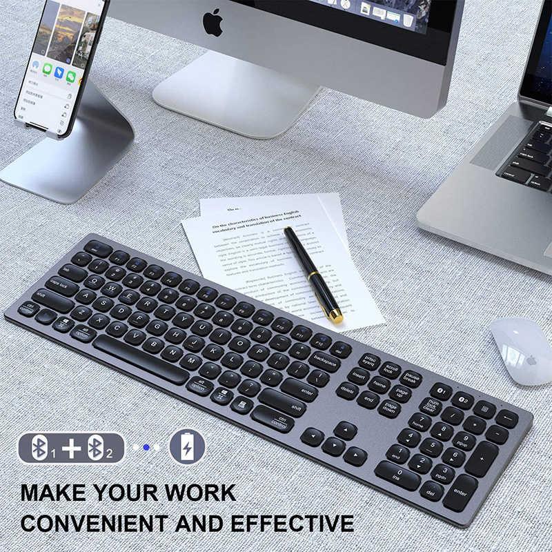 Seenda Bluetooth Toetsenbord Multi-Apparaat Oplaadbare Bluetooth Toetsenbord Aluminium Draadloze Type-C Oplaadbare Toetsenbord