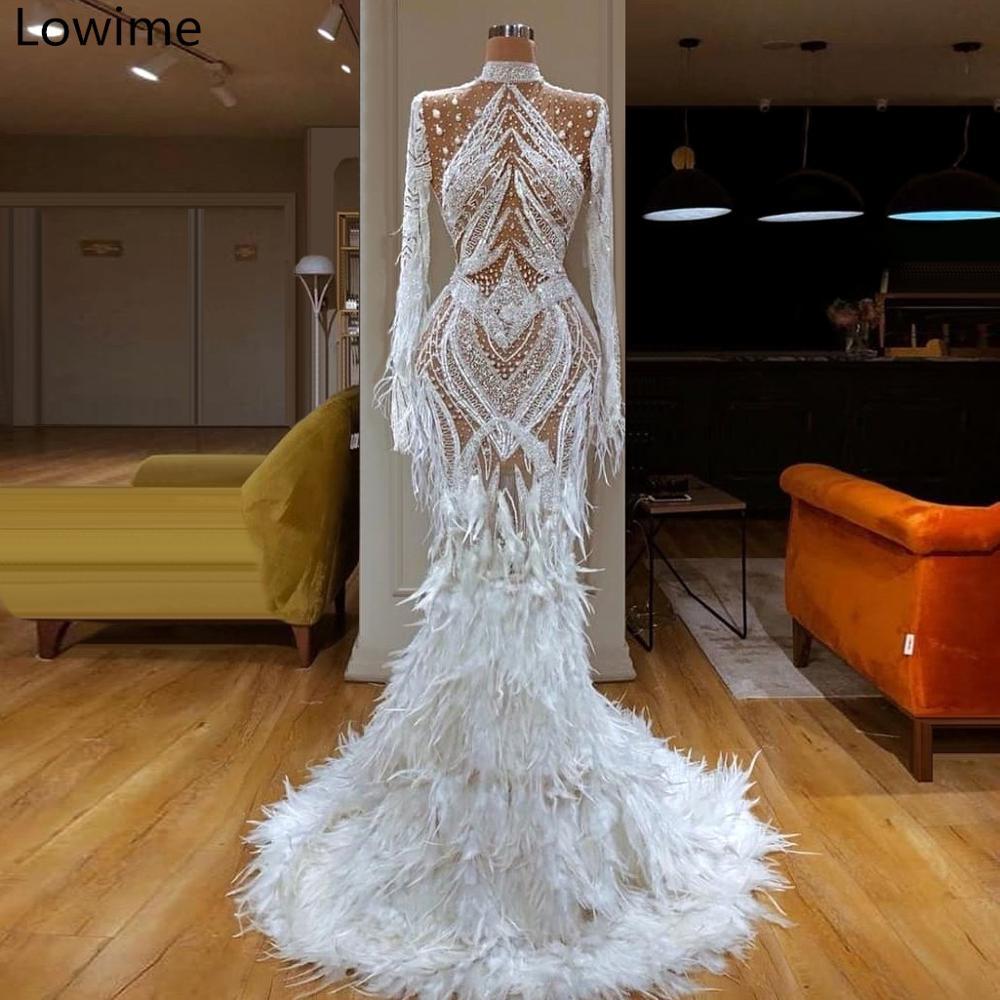 Dubaï Style blanc longues robes De bal 2019 sirène formelle robe De soirée plumes voir à travers caftan Couture Vestido De Festa