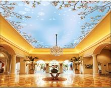все цены на Ceiling Wallpaper Murals Living Room Bedroom Ceiling Mural Decor Blue sky white clouds flowers, sunlight ceilings mural онлайн
