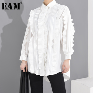 [EAM] Women White Pleated Split Big Size Blouse New Lapel Long Sleeve Loose Fit Shirt Fashion Tide Spring Summer 2020 1S27001