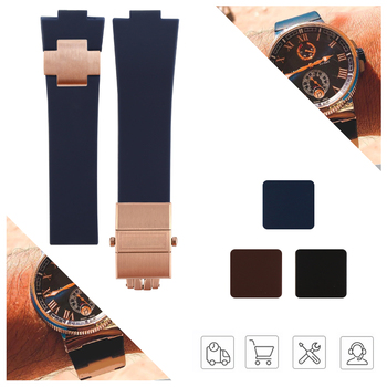 Rubber Watchband Steel Buckle Silicone Watch Band Strap for Nardin Marine Blue Black Brown 25*12mm Watch Strap Man Tools carlywet 25 12mm wholesale black brown blue waterproof silicone rubber replacement wrist watch band strap belt for ulysse nardin