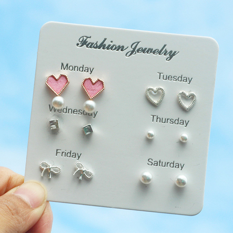 Earrings Stud-Set Kids Jewelry Crystal Pearl Snow Silver-Color Girls Fashion Cute Heart