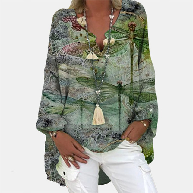 Vintage Floral Print Long Sleeve Blouse Shirt 2021 Spring Fashion V Neck Pullover Tops Ladies Casual Plus Size Streetwear Blusa 2