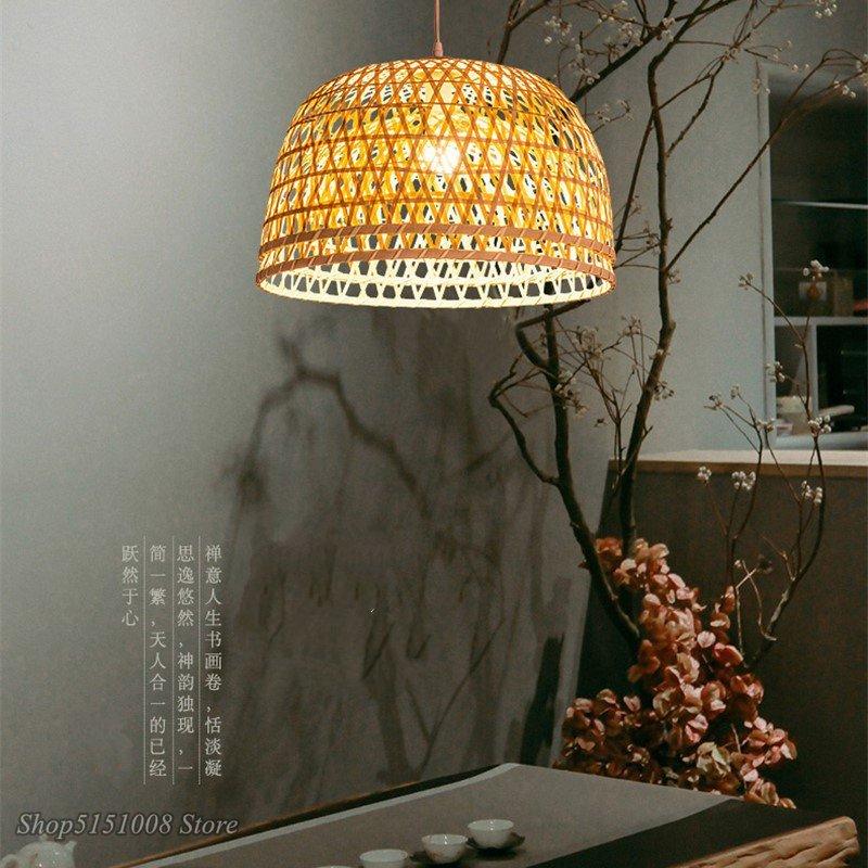 Современный бамбуковый подвесной светильник ручной работы, подвесной светильник для дома, японские подвесные лампы ручной работы, простое
