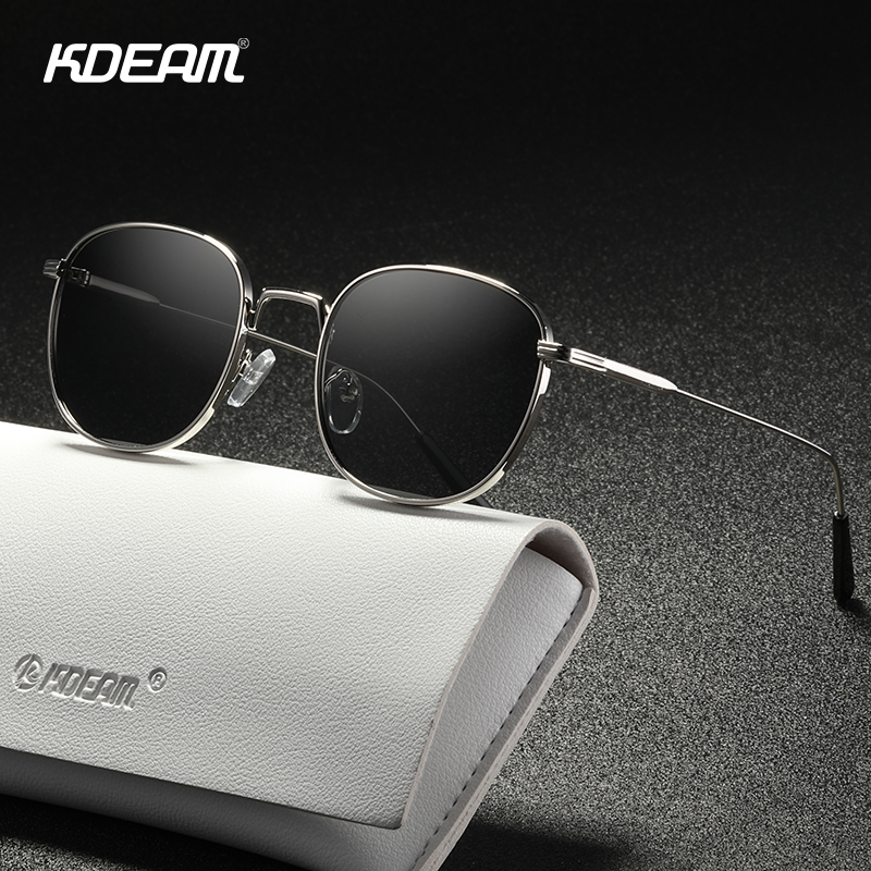 KDEAM Retro Style Round Sunglasses Women Fine Lines Designer Vintage Glasses Lady With Leather Case