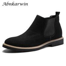 Chelsea-Boots Bottine Designer Ankle-Leather Black Autumn Winter Blue Gray Elgant Hombre