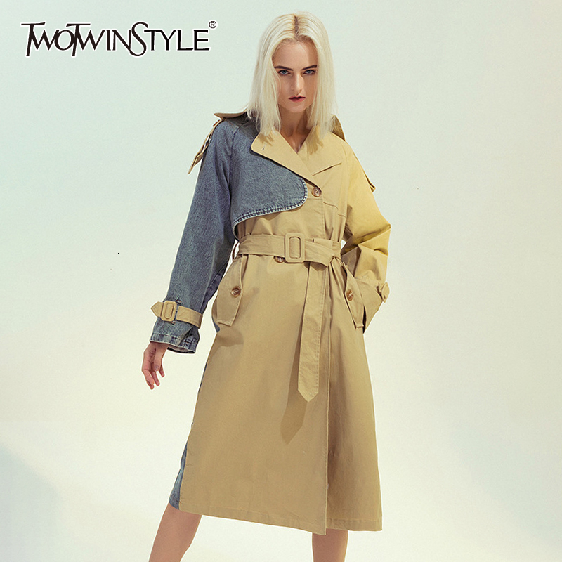 TWOTWINSTYLE Patchwork Denim Windbreaker Female Lapel Collar Long Sleeve Lace Up Plus Size Trench Coat Women Fashion 2020