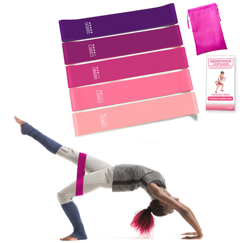 5 Colors Yoga Ombre Resistance Rubber Bands Fitness Training Crossfit Rubber Bands Pilates Loops Latex Yoga Exercise Bands