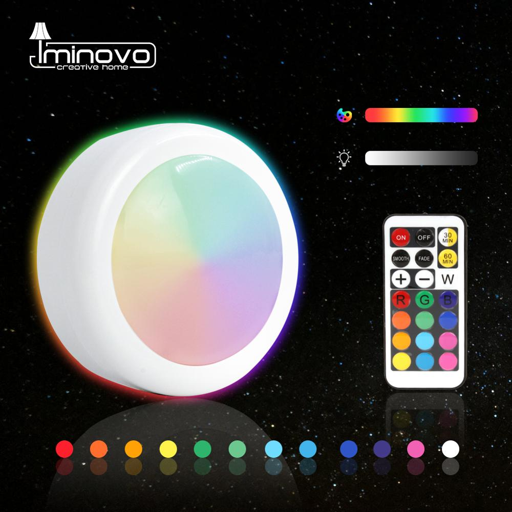 LED Under Cabinet Light RGB 12 Colors Touch Dimmable Night Puck Lamp Stair Hallway Kitchen Cupboard Wardrobe Wireless