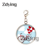 Zdying Stainless Steel Sepeda & Sepeda Balon Bunga Pesona Glass Photo Cabochon Liontin Diy Tas Aksesoris Dekorasi BK068(China)
