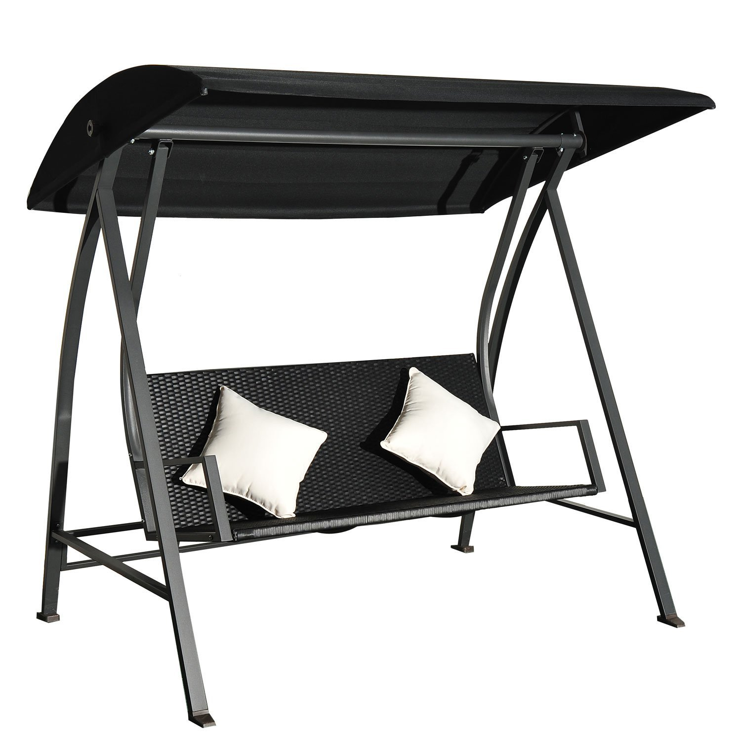 Outsunny Rocking Hollywood 3 seats cushions maximum flow: 360 kg Poly rattan and iron|  - title=