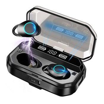 G02 Pro TWS 5.0 Bluetooth 9D Stereo Wireless Earphones IPX7 Waterproof Earphones 3300mAh LED Smart Power Bank Phone Holder