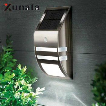 LED Wall Lamp Waterproof Outdoor Garden Security Led Solar Powered Panel Lamp Wall Lampada PIR Motion Sensor Decorative 1pc