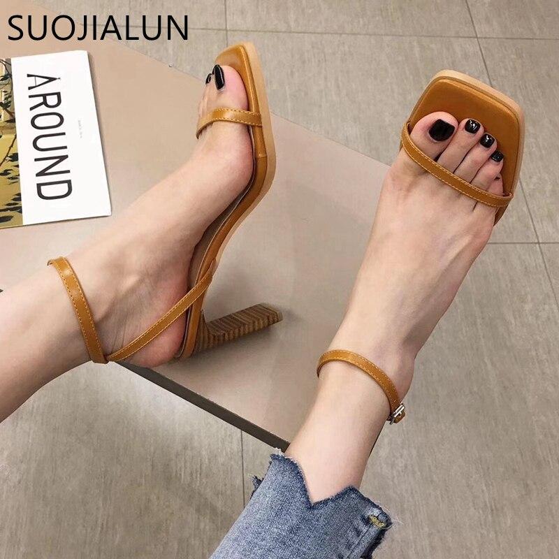 SUOJIALUN Narrow Band Women's Sandals High Quality Vintage Square Toe Women Sandals Elegant High Heel Ladies Pump Shoes